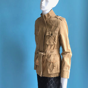 Khaki Tan Canvas Safari Jacket sz M Massimo Dutti
